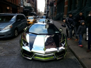 Chrome Aventador in NYC