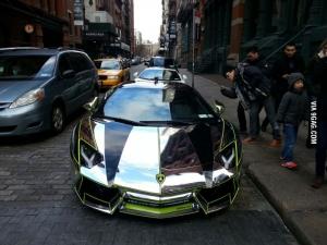 Chrome Aventador in NYC